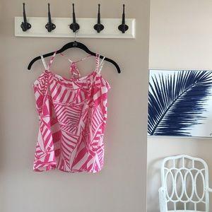NWT Lilly Pulitzer Pink/ White Silk Halter - L